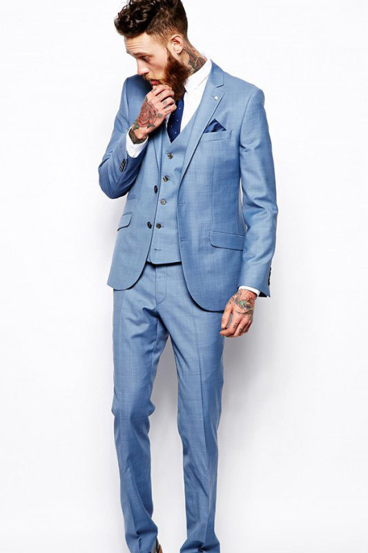 Blue slim-cut sample suit