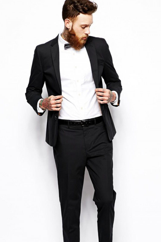 Black man slim-fit sample suit