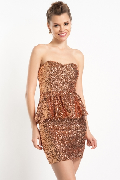 Strapless Sequin Peplum Dress Rare London