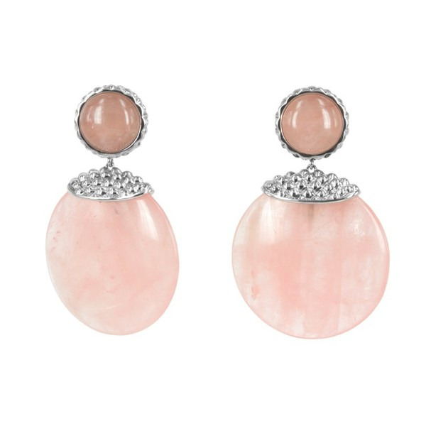 Deco Stone Disc Earrings in Rose Quartz