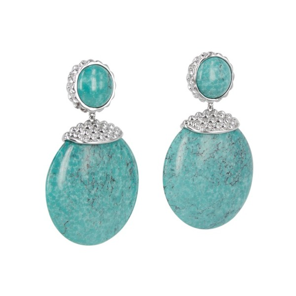 Deco Stone Disc Earrings in Turquoise