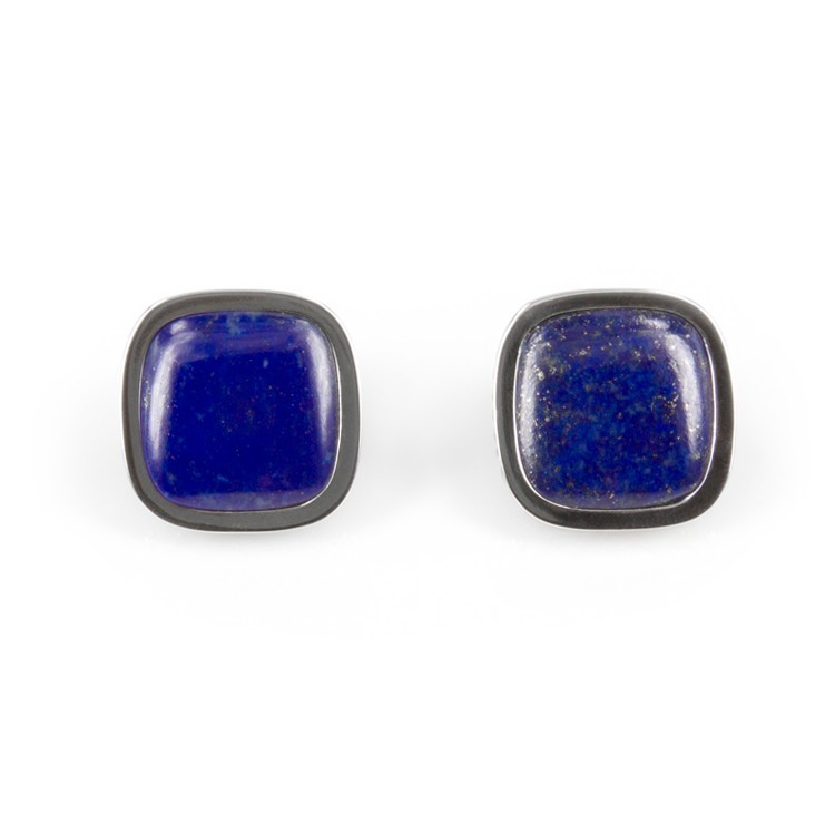 Deco Keystone Earrings - Square Lapis