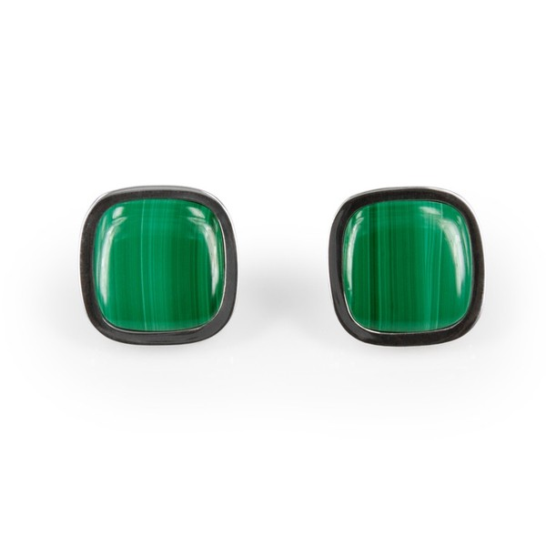 Deco Keystone Earrings - Square Malachite