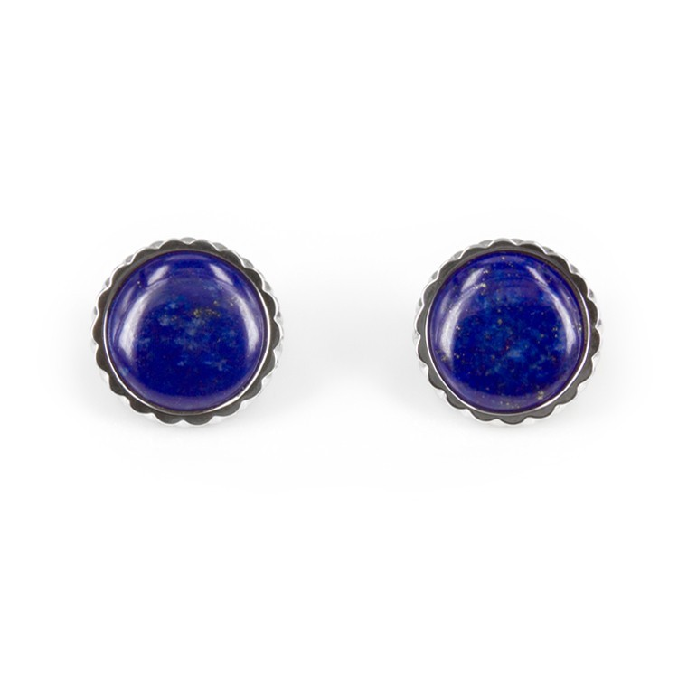 Deco Keystone Earrings - Round Lapis