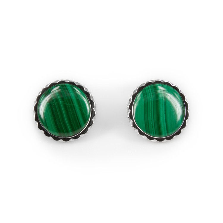 Deco Keystone Earrings - Round Malachite