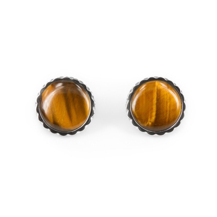 Deco Keystone Earrings - Round Tiger Eye