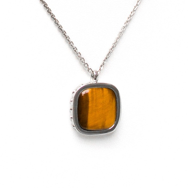 Deco Keystone Necklace - Square Tiger Eye