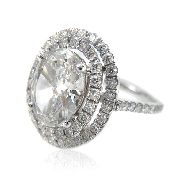 Double Oval Solitaire Diamond Ring