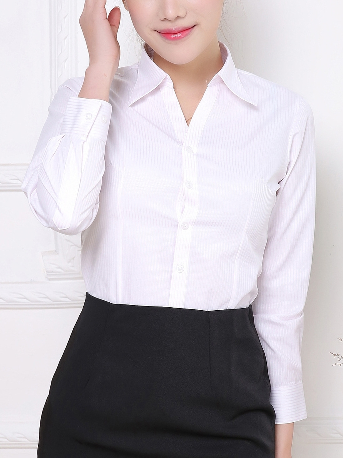 Pinstripe Basic Office Formal Shirt
