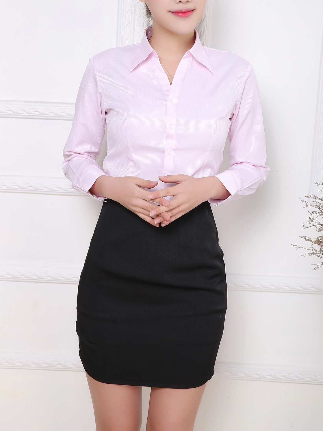 Pinstripe Basic Office Formal Shirt (Stripe Pink)