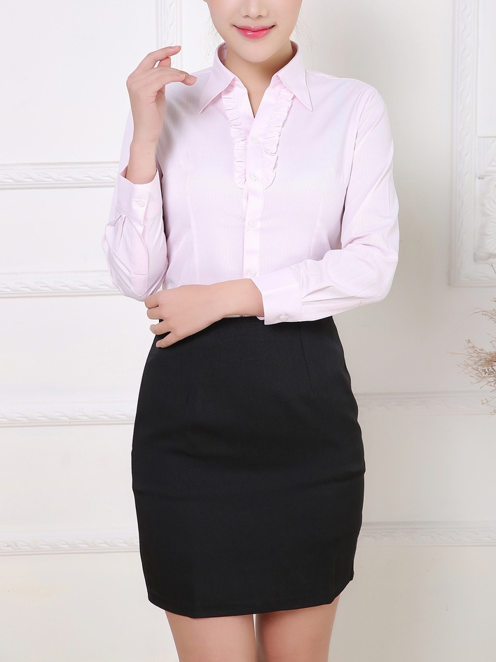 Frill Button L/s Business Shirt