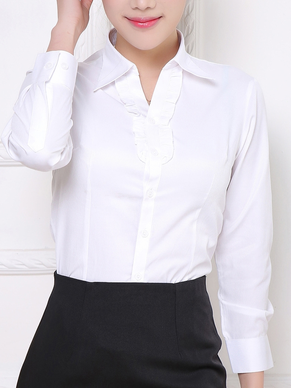 Frill Button L/s Business Shirt (White)