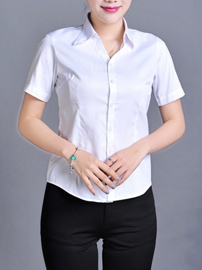 Simple Stripe Button S/s Business Shirt