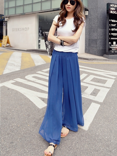Holly Chiffon Maxi Skirt-Pants (Blue)