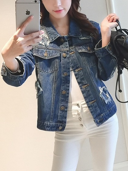Distressed Denim Jacket (EXTRA BIG)