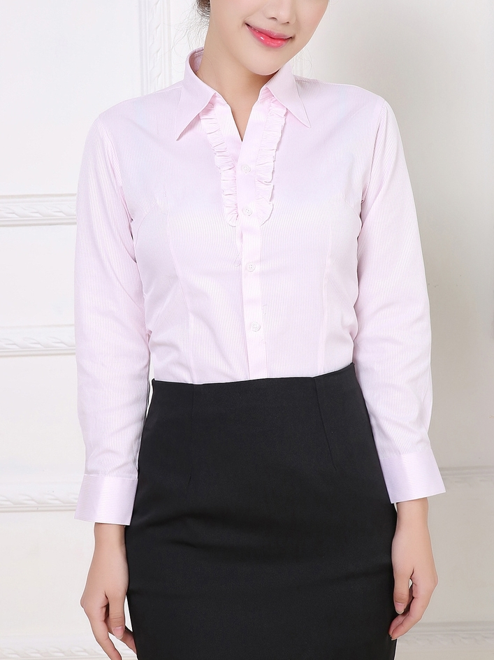 Frill Button L/s Business Shirt (Pink XL Ready Stock x1)