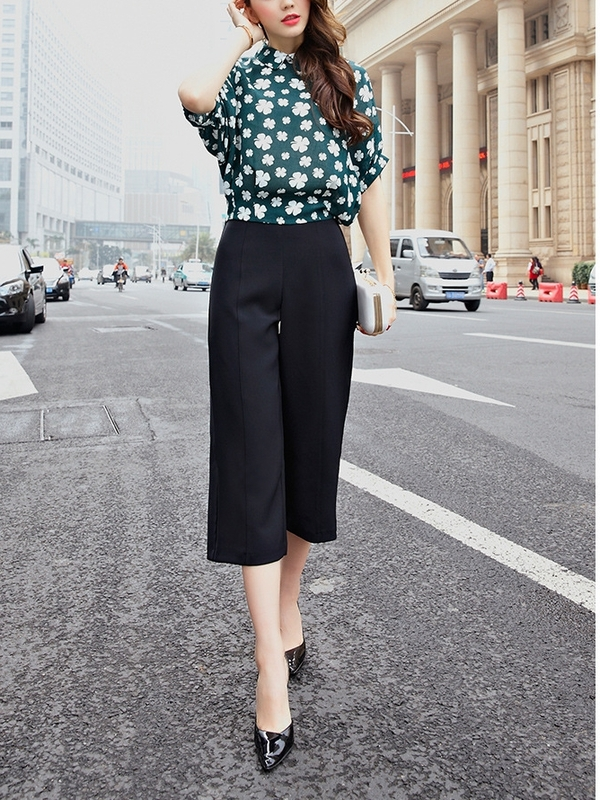 Wide-slight Leg Culottes Pants