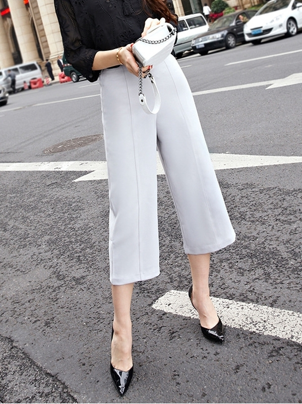 Wide-slight Leg Culottes Pants (Grey)