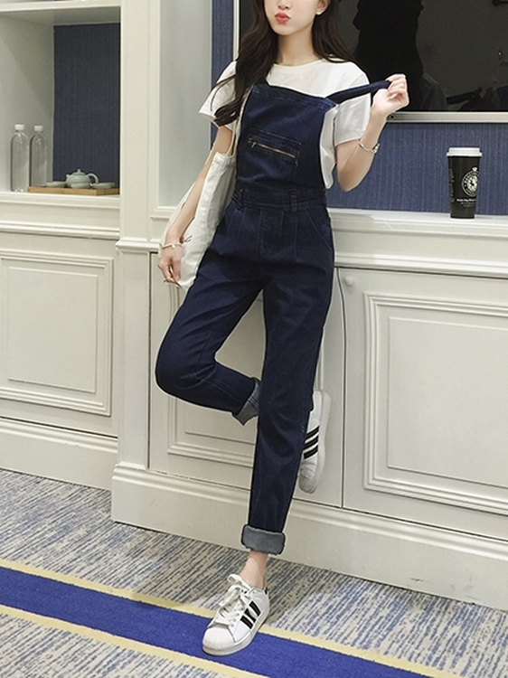 Zipper Denim Dungaree Overalls