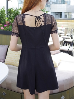 Lasha Back-Tie Lace Romper Dress (EXTRA BIG!)