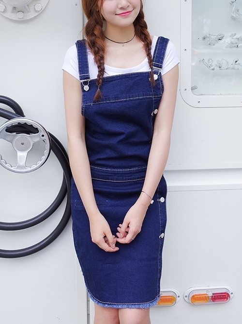 Liqa Button Denim Dungaree Dress (EXTRA BIG!)