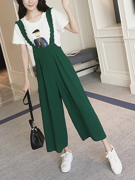 Pleated Pinafore Romper Jumper (EXTRA BIG SIZE!) (Green)