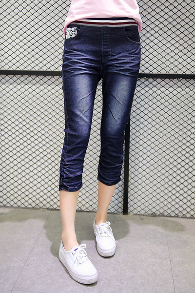 Dark-rinse Waistband Denim Capri Jeans (EXTRA BIG!)