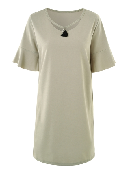 Tassle Bell Sleeve Dress (2 Colour)
