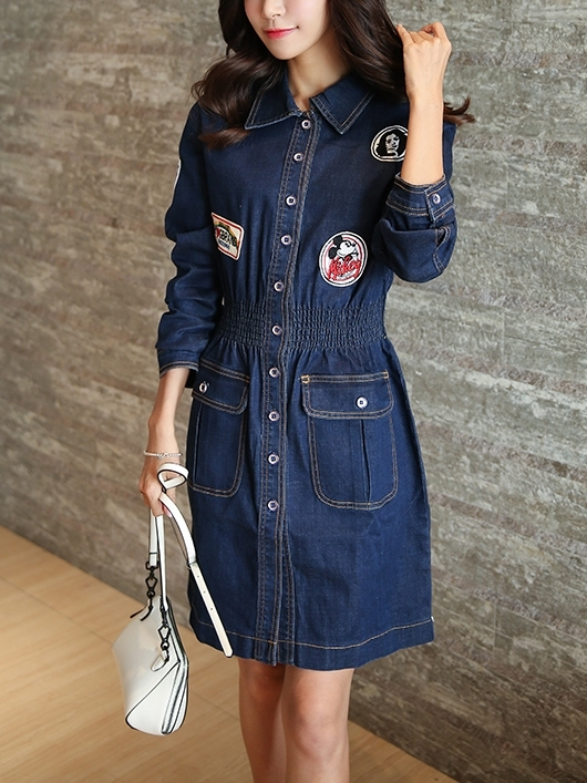 Shall We Patch Up Denim Shirt Dress (EXTRA BIG SIZE)