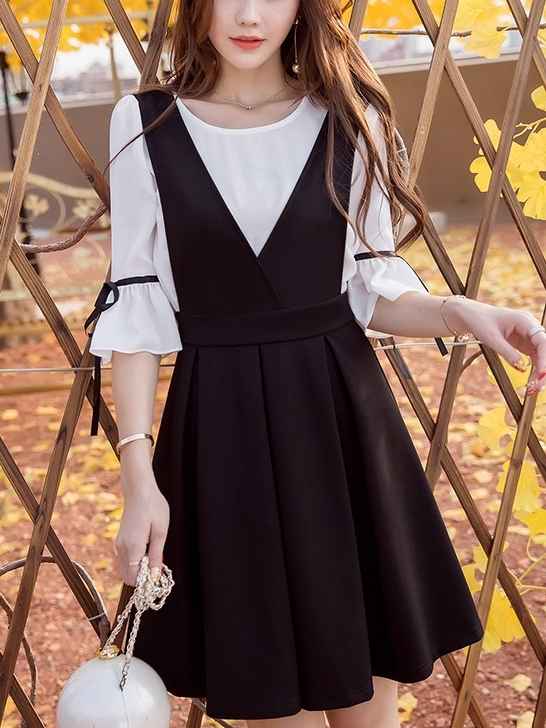 Pleat Pinafore Dress