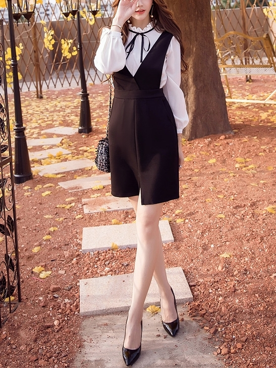 V-neck Front-Slit Pinafore Dress