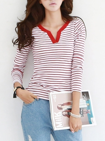 Vi Stripe Henley L/s Top