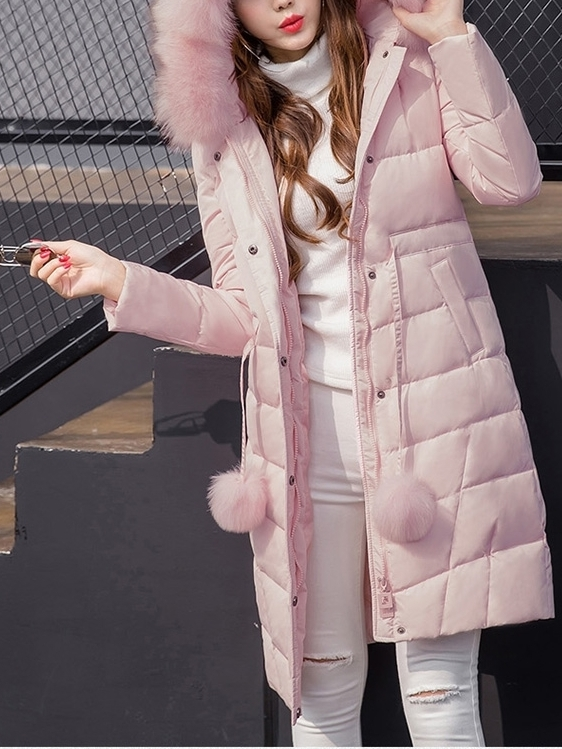 (90% White Duck Down Filling!) Macaroon Pad Winter Long Jacket