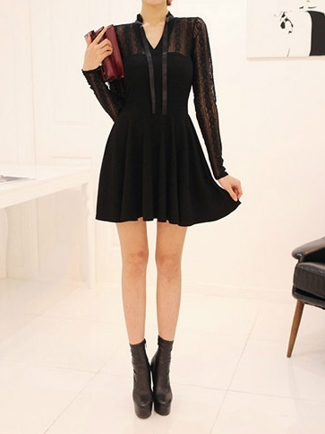 Moisa Lace Black Dress