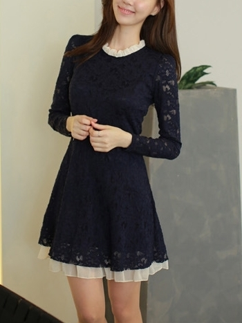 Laude Lace+Chiffon Dress