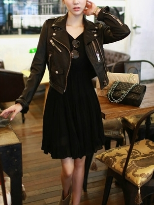 Zipper Leatherette Jacket