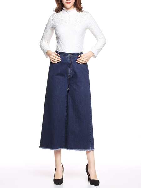 Denim Wide-Leg Culotte Pants