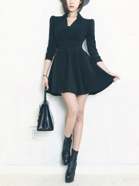 Puff Sleeve Waist-enhance Shirt Dress