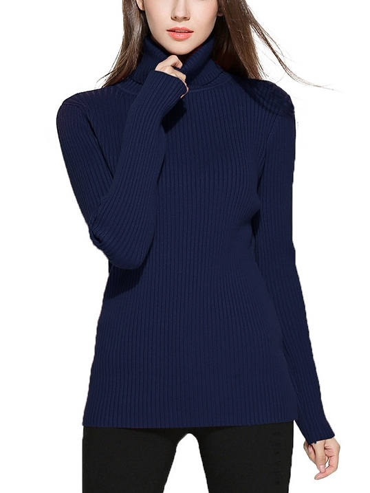 Knit Rib Turtle-neck L/s Top (Navy 5XL Ready Stock *1)