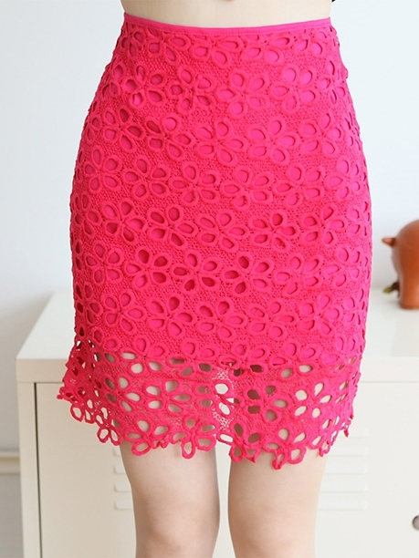 Bright Pink Floral Crochet Skirt (EXTRA BIG SIZE)