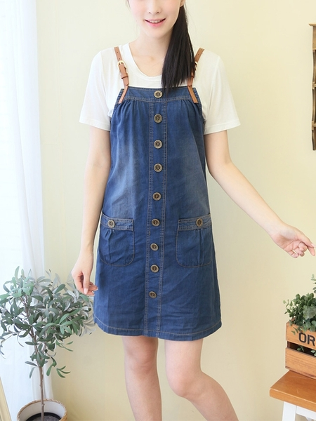 Denim Buckle Strap Button Dress (EXTRA BIG SIZE)