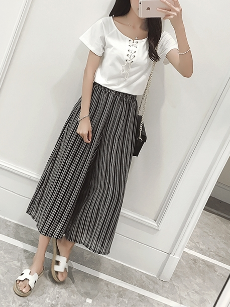 Stripe Culottes Wide-leg Light Pants (EXTRA BIG SIZE)