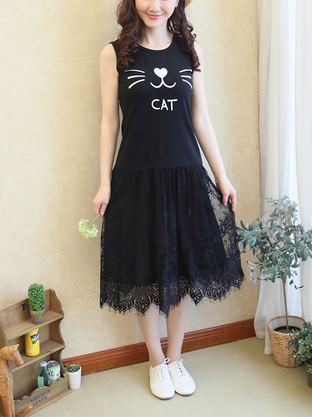 Cat Lace Midi Dress (EXTRA BIG SIZE)