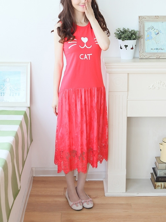 Cat Lace Midi Dress (EXTRA BIG SIZE) (M-XXXXXL)