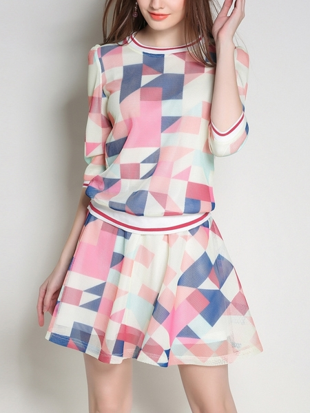 Geometric Pastel Top and Skirt Set (2 Piece)