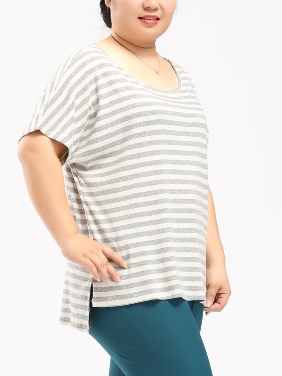 Light Grey Stripe Top (EXTRA BIG SIZE!)