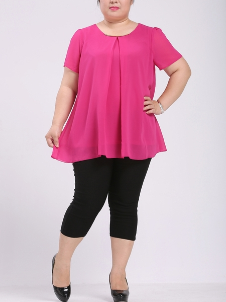 Metal Neckline Chiffon Blouse (EXTRA BIG SIZE!) (2 SLEEVE LENGTH)