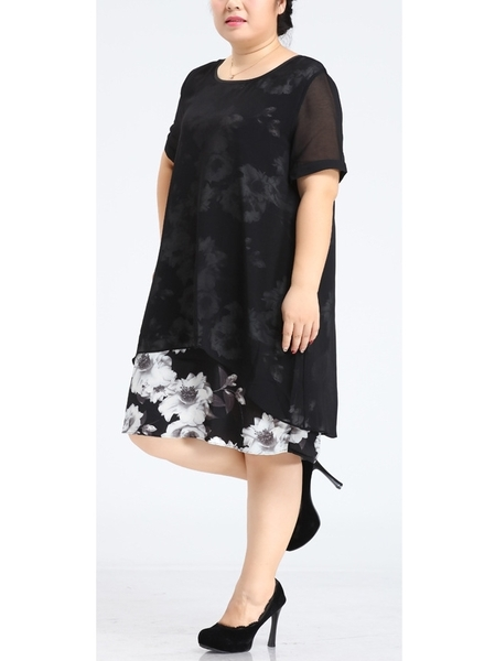 Monochrome See-through Floral Dress