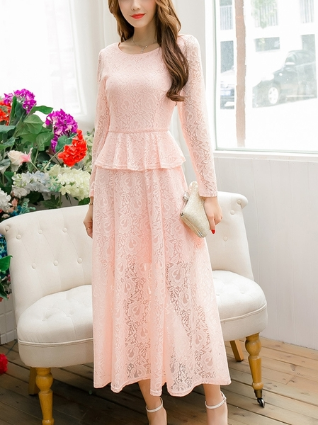 Elegante Peplum Lace Maxi Dress (XL-XXXXL)