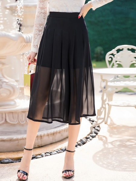 Rymel Midi Skirt (See-through Hem)